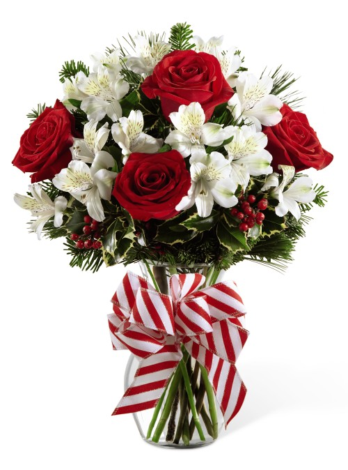 Fruit Flower Baskets Edmonton : Christmas flowers with roses and ribbon grower direct