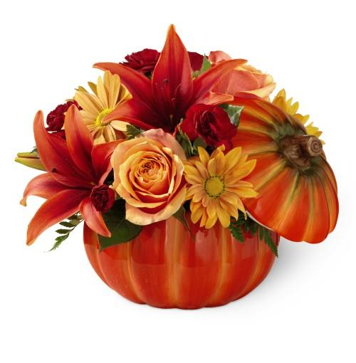 Fruit Flower Baskets Edmonton : Flower bouquet in pumpkin container for thanksgiving at