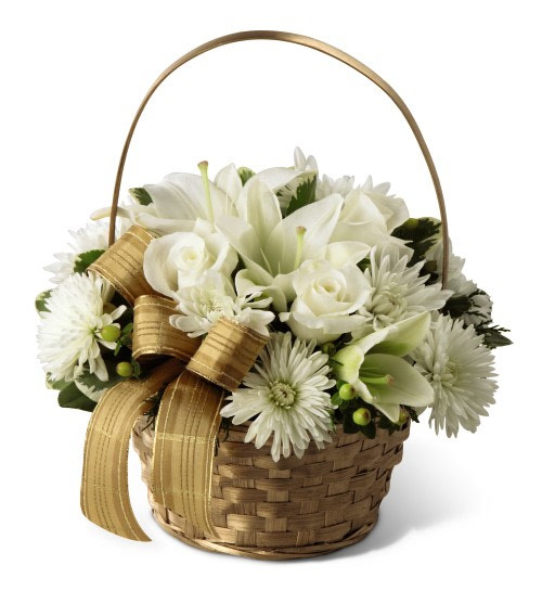 Fruit Flower Baskets Edmonton : White and gold christmas floral basket calgary flower