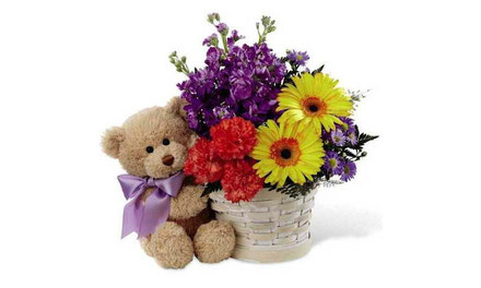 {Teddy Bears, Balloons and Flowers}