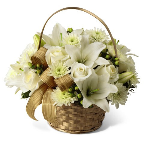 White and gold christmas floral basket calgary flower shop premium see price in drop down menu mightylinksfo